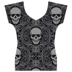 Dark Horror Skulls Pattern Women s V-Neck Cap Sleeve Top