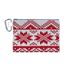 Crimson Knitting Pattern Background Vector Canvas Cosmetic Bag (M)
