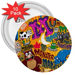 M Pattern 3  Buttons (10 Pack)