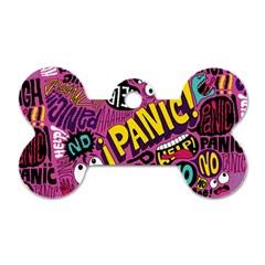 Panic Pattern Dog Tag Bone (two Sides)