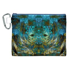 Modern Abstract Art Blue  Canvas Cosmetic Bag (XXL)