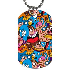 People Face Fun Cartoons Dog Tag (one Side)