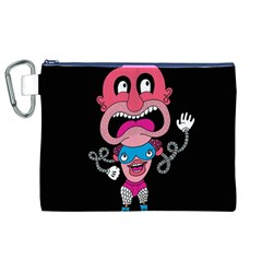 Red Cartoons Face Fun Canvas Cosmetic Bag (XL)