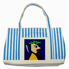 Warrior Striped Blue Tote Bag