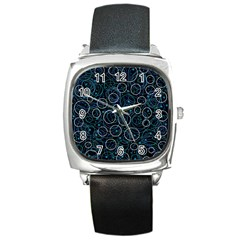Blue abstract decor Square Metal Watch