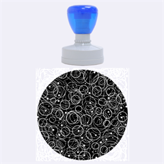 Blue abstract decor Rubber Round Stamps (Large)