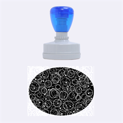 Blue abstract decor Rubber Oval Stamps