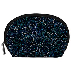 Blue abstract decor Accessory Pouches (Large)
