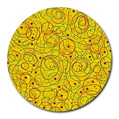 Yellow abstract art Round Mousepads