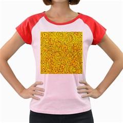 Yellow abstract art Women s Cap Sleeve T-Shirt