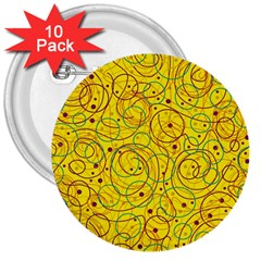 Yellow abstract art 3  Buttons (10 pack)