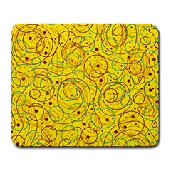 Yellow abstract art Large Mousepads