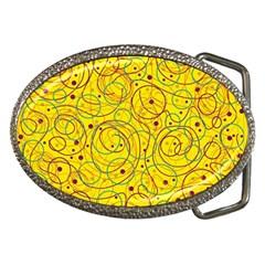 Yellow abstract art Belt Buckles