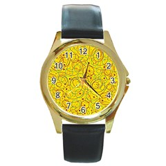 Yellow abstract art Round Gold Metal Watch