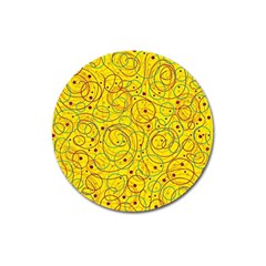 Yellow abstract art Magnet 3  (Round)