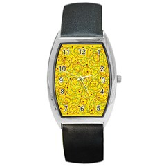 Yellow abstract art Barrel Style Metal Watch