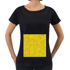 Yellow abstract art Women s Loose-Fit T-Shirt (Black)