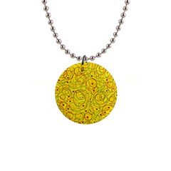 Yellow abstract art Button Necklaces
