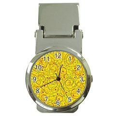 Yellow abstract art Money Clip Watches