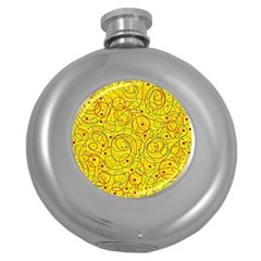 Yellow abstract art Round Hip Flask (5 oz)