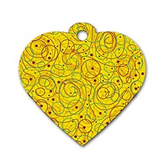 Yellow abstract art Dog Tag Heart (Two Sides)