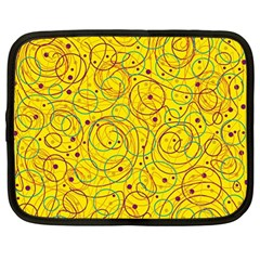 Yellow abstract art Netbook Case (Large)
