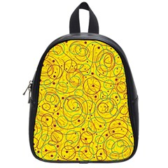 Yellow abstract art School Bags (Small)