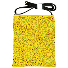 Yellow abstract art Shoulder Sling Bags