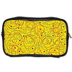 Yellow abstract art Toiletries Bags 2-Side