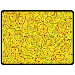 Yellow abstract art Fleece Blanket (Large)