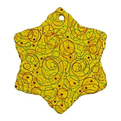 Yellow abstract art Snowflake Ornament (2-Side)