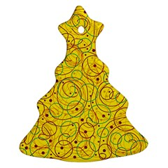 Yellow abstract art Christmas Tree Ornament (2 Sides)