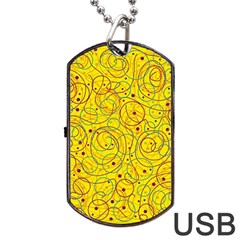 Yellow abstract art Dog Tag USB Flash (Two Sides)