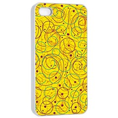 Yellow abstract art Apple iPhone 4/4s Seamless Case (White)
