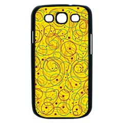 Yellow abstract art Samsung Galaxy S III Case (Black)