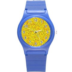 Yellow abstract art Round Plastic Sport Watch (S)