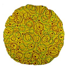 Yellow abstract art Large 18  Premium Round Cushions