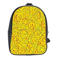 Yellow abstract art School Bags (XL)