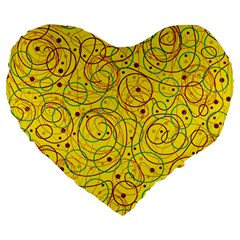 Yellow abstract art Large 19  Premium Heart Shape Cushions