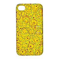 Yellow abstract art Apple iPhone 4/4S Hardshell Case with Stand