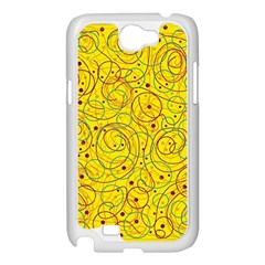 Yellow abstract art Samsung Galaxy Note 2 Case (White)