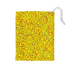 Yellow abstract art Drawstring Pouches (Large)