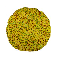 Yellow abstract art Standard 15  Premium Flano Round Cushions