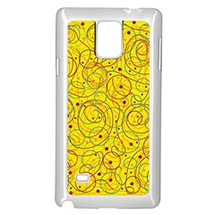 Yellow abstract art Samsung Galaxy Note 4 Case (White)