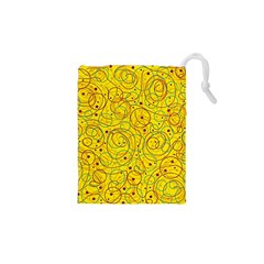 Yellow abstract art Drawstring Pouches (XS)