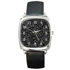 Black and white magic Square Metal Watch