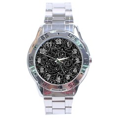 Black And White Magic Stainless Steel Analogue Watch