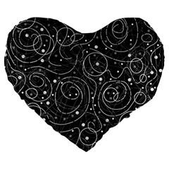 Black and white magic Large 19  Premium Flano Heart Shape Cushions