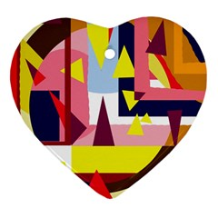Colorful abstraction Heart Ornament (2 Sides)