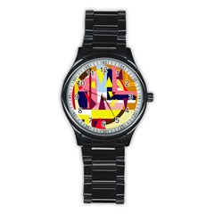 Colorful abstraction Stainless Steel Round Watch